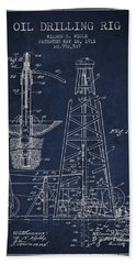 Vintage Oil Drilling Rig Patent From 1911 Beach Towel