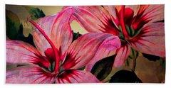 Vintage Painted Pink Lily Beach Towel by Judy Palkimas