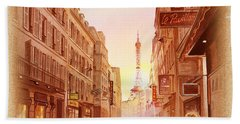 Vintage Paris Street Eiffel Tower View Beach Towel by Irina Sztukowski