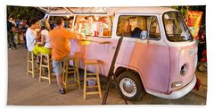 Vintage Pink Volkswagen Bus Beach Sheet by Luciano Mortula