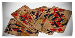 Vintage Playing Cards Art Prints Beach Sheet