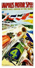 Vintage Poster - Sports - Indy 500 Beach Towel by Benjamin Yeager