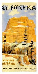 Vintage See America Travel Poster Beach Towel