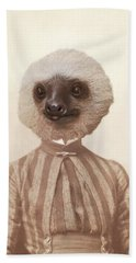 Vintage Sloth Girl Portrait Beach Towel