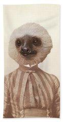 Vintage Sloth Girl Portrait Beach Sheet