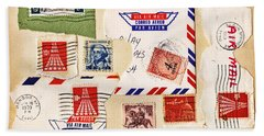 Beach Towel featuring the photograph Vintage Stamps On Old Postcard by Vizual Studio