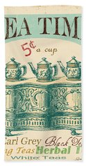 Vintage Tea Time Sign Beach Towel