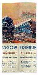 Vintage Train Travel - Glasgow And Edinburgh Beach Towel