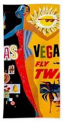 Vintage Travel Poster - Las Vegas Beach Towel
