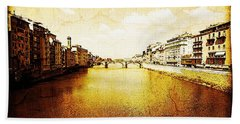 Vintage View Of River Arno Beach Towel