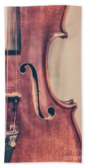 Vintage Violin Portrait 2 Beach Towel