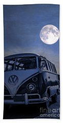 Vintage Vw Bus Parked At The Beach Under The Moonlight Beach Towel