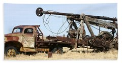 Vintage Water Well Drilling Truck Beach Sheet