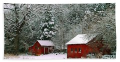 Vintage Winter Barn  Beach Towel by Peggy Franz