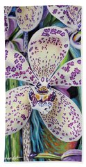 Violet Dotted Orchid Beach Towel