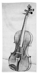 Violin In Black And White Beach Towel by Emily Kay