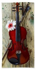 Violin On Old Door Beach Towel