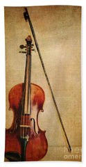 Violin With Bow Beach Towel by Emily Kay