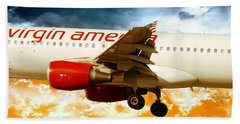 Airplane Beach Towel featuring the photograph Virgin America A320 by Aaron Berg