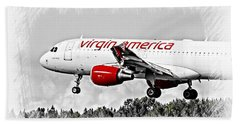 Airplanes Beach Towel featuring the photograph Virgin America Mach Daddy  by Aaron Berg