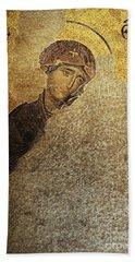 Virgin Mary-detail Of Deesis Mosaic  Hagia Sophia-day Of Judgement Beach Sheet