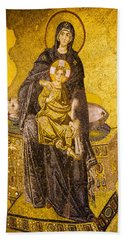 Virgin Mary With Baby Jesus Mosaic Beach Sheet