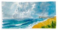 Virginia Beach With Pier Beach Towel