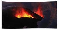 Beach Towel featuring the photograph Volcanic Eruptions by Gunnar Orn Arnason