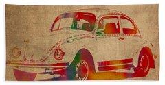 Volkswagen Beetle Vintage Watercolor Portrait On Worn Distressed Canvas Beach Towel