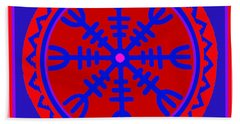 Beach Towel featuring the digital art Voodoo Helm Of Awe by Vagabond Folk Art - Virginia Vivier