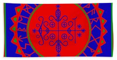Beach Towel featuring the digital art Voodoo Veve  As Above So Below by Vagabond Folk Art - Virginia Vivier