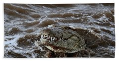 Voracious Crocodile In Water Beach Sheet