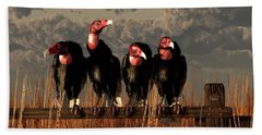 Vultures On A Fence Beach Sheet by Daniel Eskridge