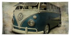 Vw Bus On Display Beach Sheet by Athena Mckinzie