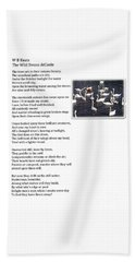 W B Keats - The Wild Swans At Atcoole Beach Towel
