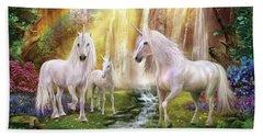 Waaterfall Glade Unicorns Beach Towel by Jan Patrik Krasny