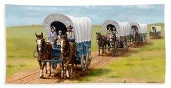 Wagons West Establish Grapevine Texas - Wagon Train Beach Towel