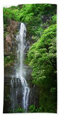 Beach Towel featuring the photograph Waikani Falls At Wailua Maui Hawaii by Connie Fox