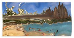 Waikiki Beach Remodeled - Modern Art Beach Sheet by Art America Gallery Peter Potter