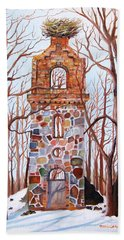 Waiting At Church Ruins  Beach Towel