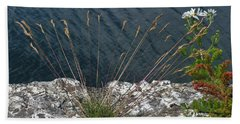 Beach Towel featuring the photograph Flowers In Rock by Brenda Brown