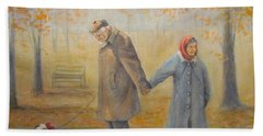Beach Towel featuring the painting Walking Miss Daisy by Donna Tucker