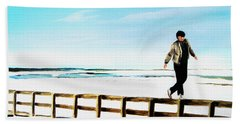 Walking On Fences Beach Towel