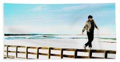 Walking On Fences Beach Sheet