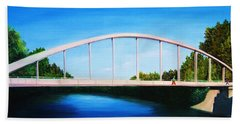Walking On The Bridge  Beach Towel