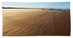Walking On Windy Beach. Beach Sheet