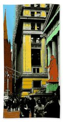 New York Pop Art Blue Green Red Yellow Beach Towel