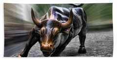 Wall Street Bull Beach Towel by Wes and Dotty Weber