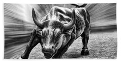 Wall Street Bull Black And White Beach Towel by Wes and Dotty Weber