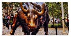 Wall Street Bull Beach Towel
